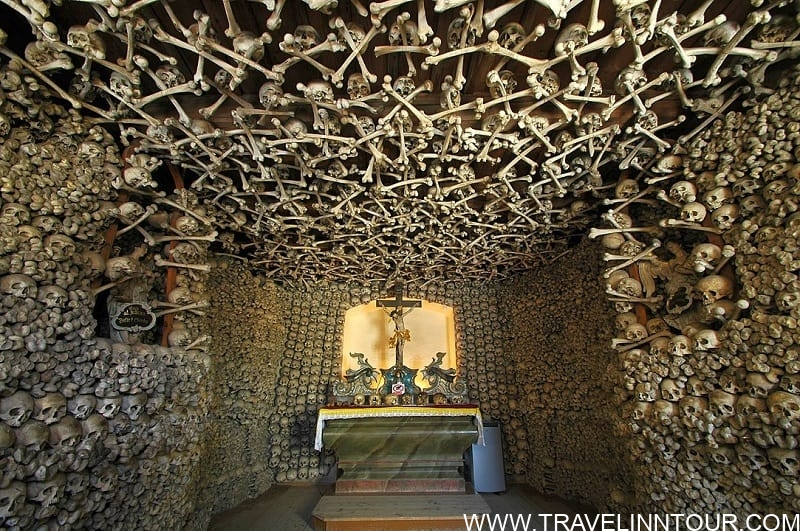 interior featuring human bones and remains on walls and ceiling