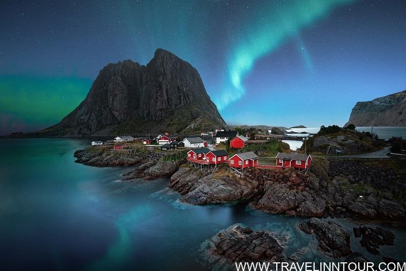 Aurora Borealis over Lofoten Hamnoy Island