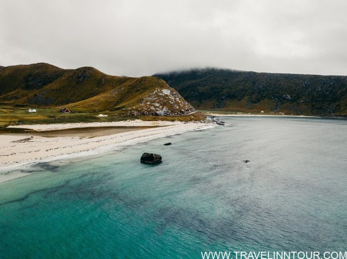 Haukland Beach at the Lofoten with beautiful and clear water